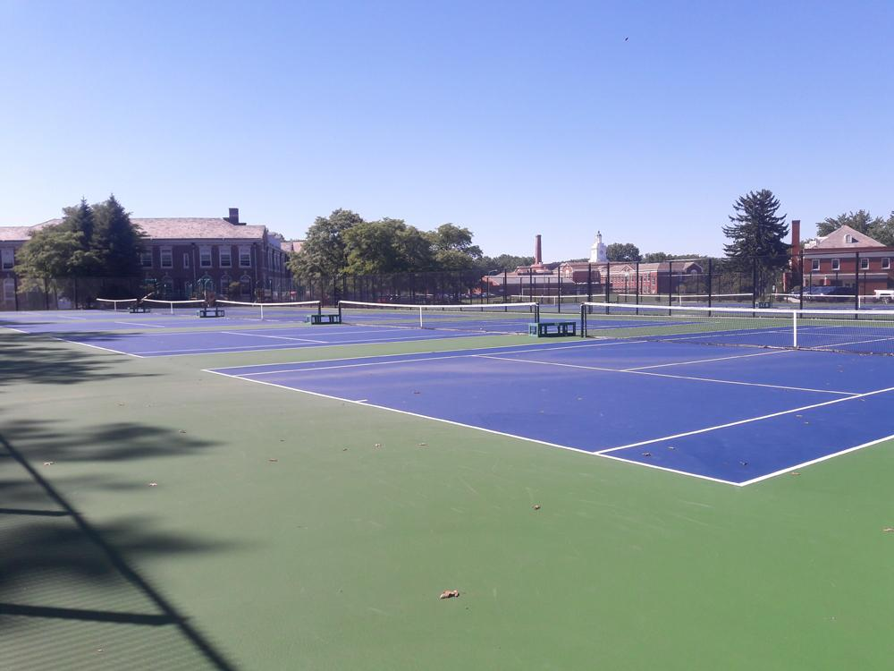 The new tennis courts opened after construction started in June. The dedication ceremony highlights the value of tennis to the Shaker community.