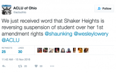 District Reverses Student Suspension Following ACLU of Ohio Letter