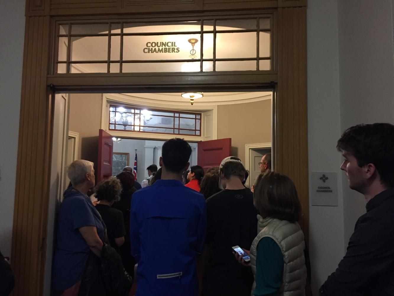 Shaker residents crowded into city hall April 24 awaiting a council decision.