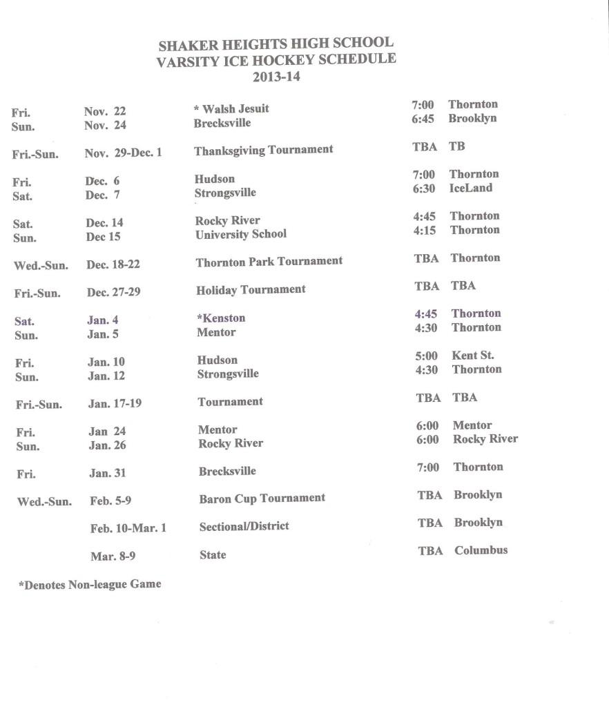 Full 2013-14 Schedule