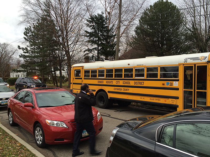 While driving on the Oval on Nov. 19, Shaker school bus no. 30 scraped against a car (not pictured).