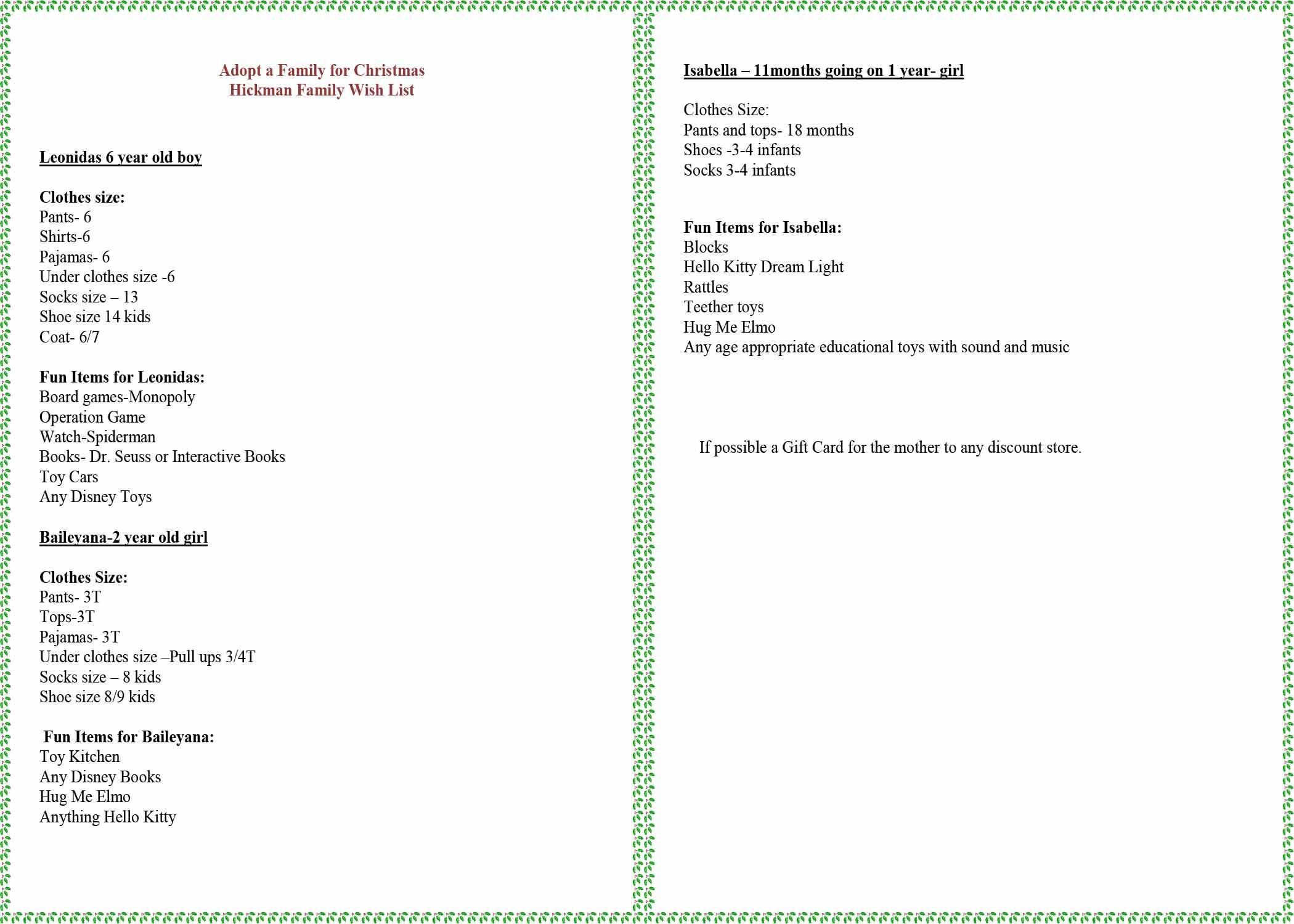 The organization Adopt-a-Family gave student council a wish list for the family council is sponsoring. If you would like to donate anything listed, contact student council advisory Amanda Ahrens, ahrens_a@shaker.org, or drop a gift off at the high school.