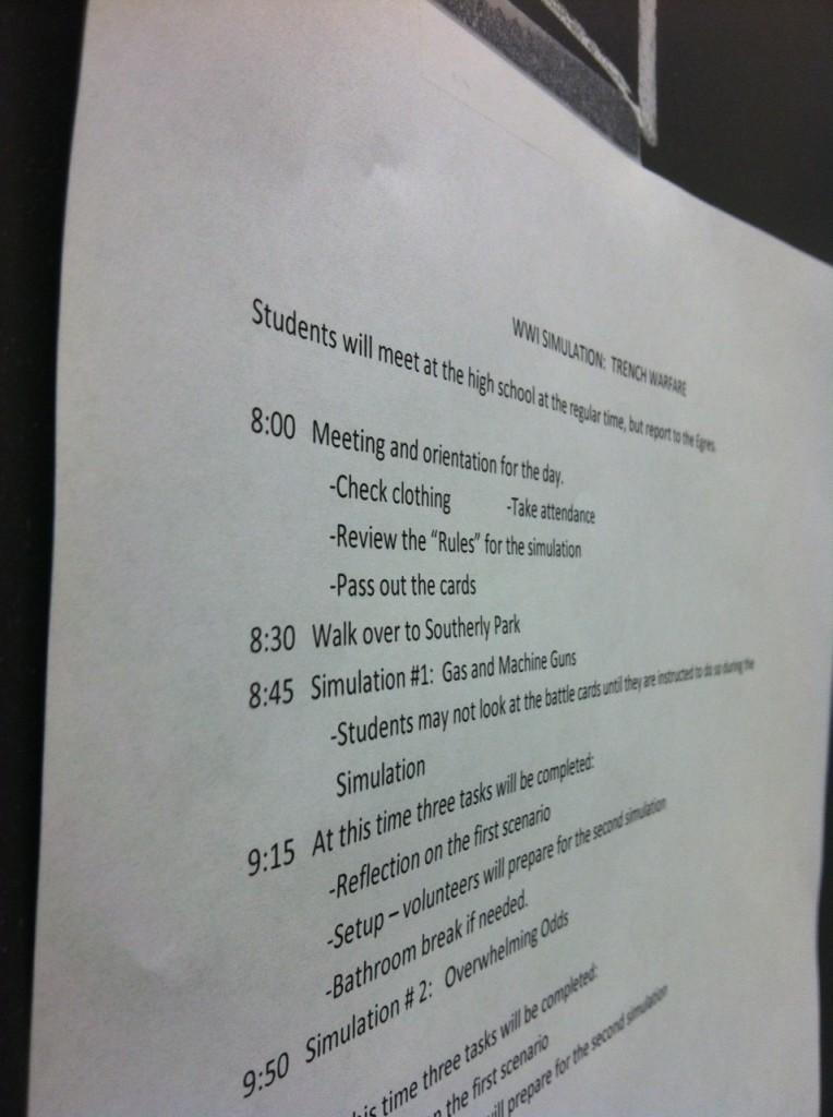 The schedule for the World War I trench warfare simulation.