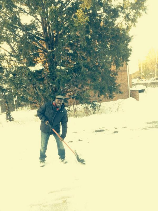 Hutchings tweeted this photo of himself shoveling snow Jan. 4. The tweet read,
