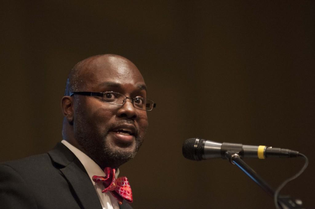 Hutchings addressed 400 people, mostly parents, in the large auditorium Monday evening.