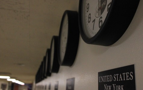In the middle school's main hallway, 13 clocks supposedly show the times in cities on six different continents. On Feb. 6, seven of the 13 showed the wrong time. Five were off by one hour, two were off by three.