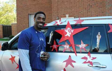 Assistant Principal Eric Hutchinson participates in the Homecoming Parade in 2012. Hutchinson has read names at commencement since 2004.