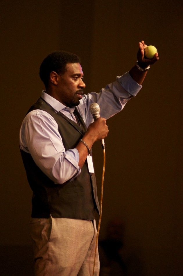 Assistant Principal Eric Hutchinson speaks during an assembly for Sankofa.