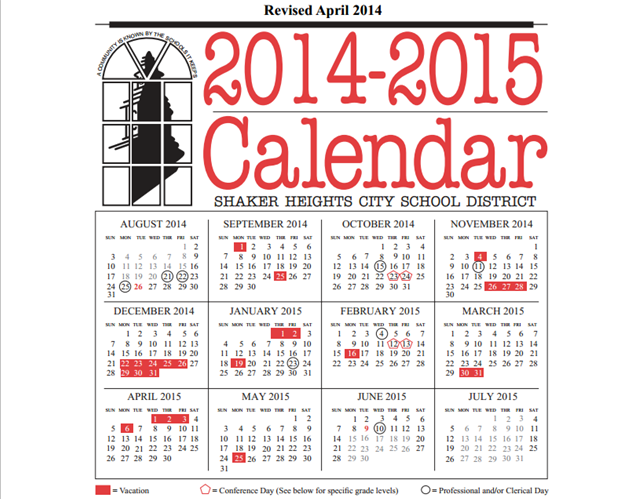 The 2014-2015 school calendar, released April 11, shortens spring break, among other changes.