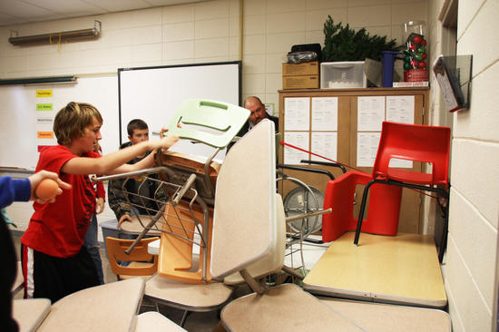 Students at Richland Junior High in Essex, Missouri, barricade a classroom door during ALICE training. Students were taught how to react to the threat of an armed intruder in their school. Shaker is exploring ALICE training as an alternative to lockdowns and, according to Superintendent Gregory C. Hutchings, Jr., will have some kind of enhanced training program in place by next school year.