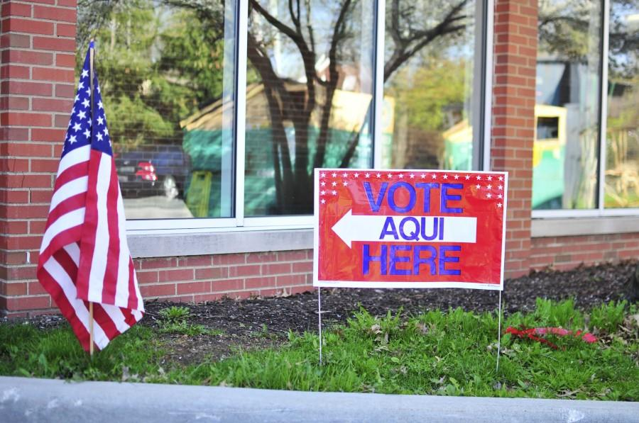 A voting sign stands outside Woodbury Elementary School, where midterm elections were held May 6. Shaker residents voted for or against Issue 6, the district's 6.9-mill levy.