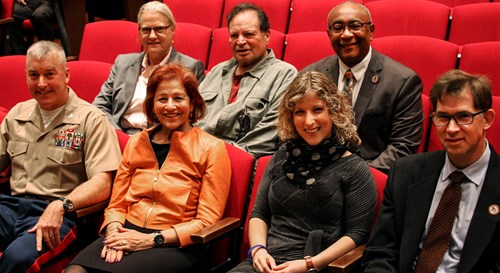 Inductees Col. James Gannon, Maxine Isaacs, Amy Lazarus, David Leu, Ann Rowland, Harvey Laidman and Zachary Green spoke Oct. 13 during the annual Shaker Heights Alumni Association Hall of Fame assembly in the large auditorium.