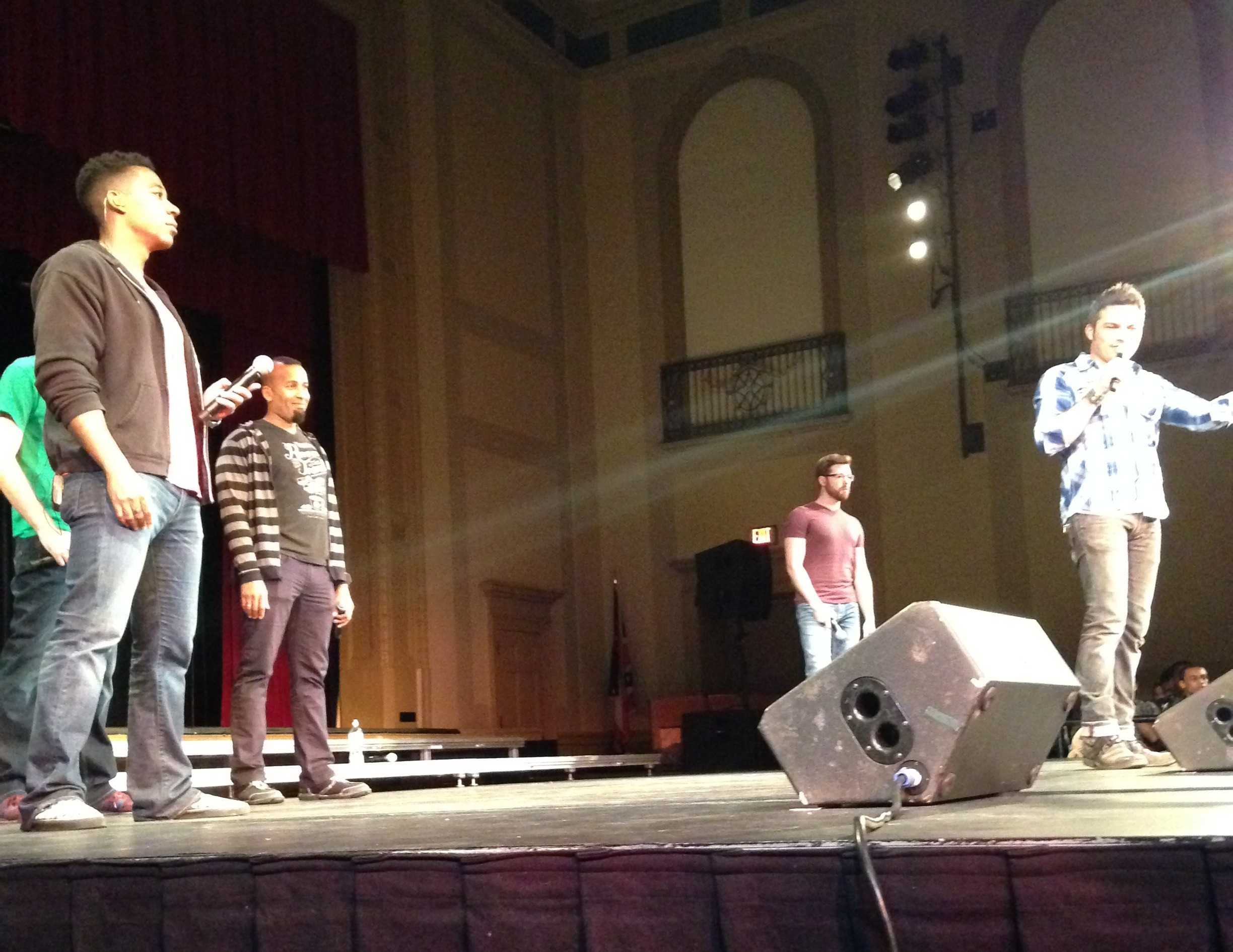 The House Jacks perform in the large auditorium during the second assembly period today.