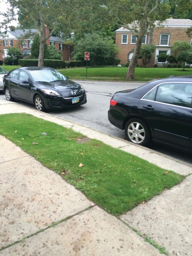 An example of the parking jobs on the oval of Shaker Heights High School