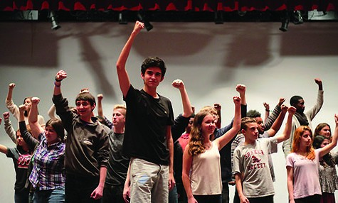 Led by junior Jack Bistriz as revolutionary Enjolras, the full cast of