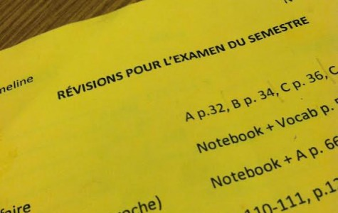 French teacher Helene Ameline assigns final exam review packets, such as this one, over winter break.