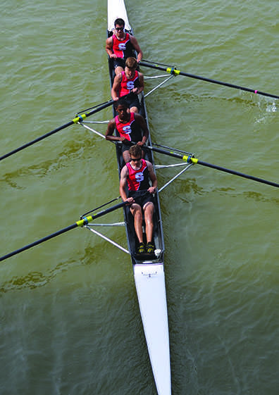 Juniors Peter Zagara, Will Landow, Xavier Aniton, and Ian Morison row in the Head of the Cuyahoga Regatta Sept. 20, 2014.