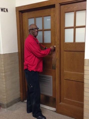 Security guard Curtis Hughley locks the third floor men's bathroom door Feb. 6.