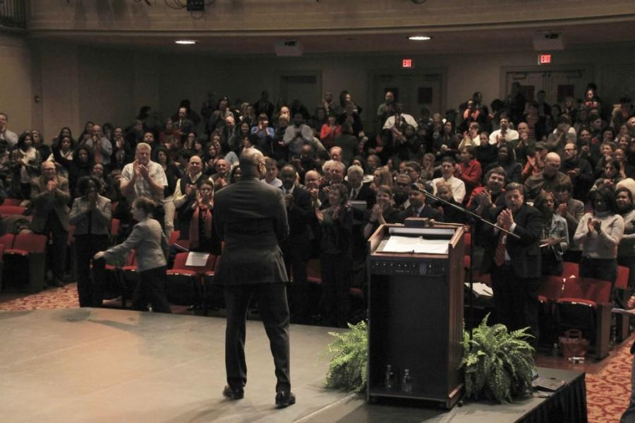 Superintendent Gregory C. Hutchings, Jr. addresses the crowd at his first State of the Schools address last year.