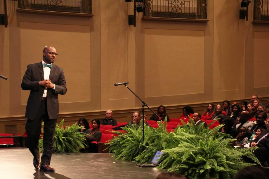 Superintendent Gregory C. Hutchings, Jr. presents his PowerPoint to the audience during the annual State of the Schools speech Feb. 10.