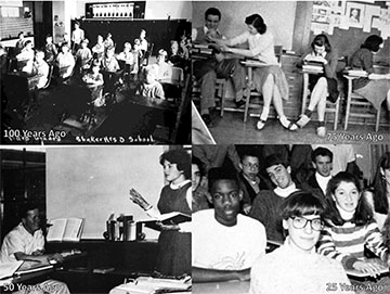 Superintendent Gregory C. Hutchings, Jr. included this photo collage, showing images of Shaker throughout the past 100 years, in his PowerPoint.