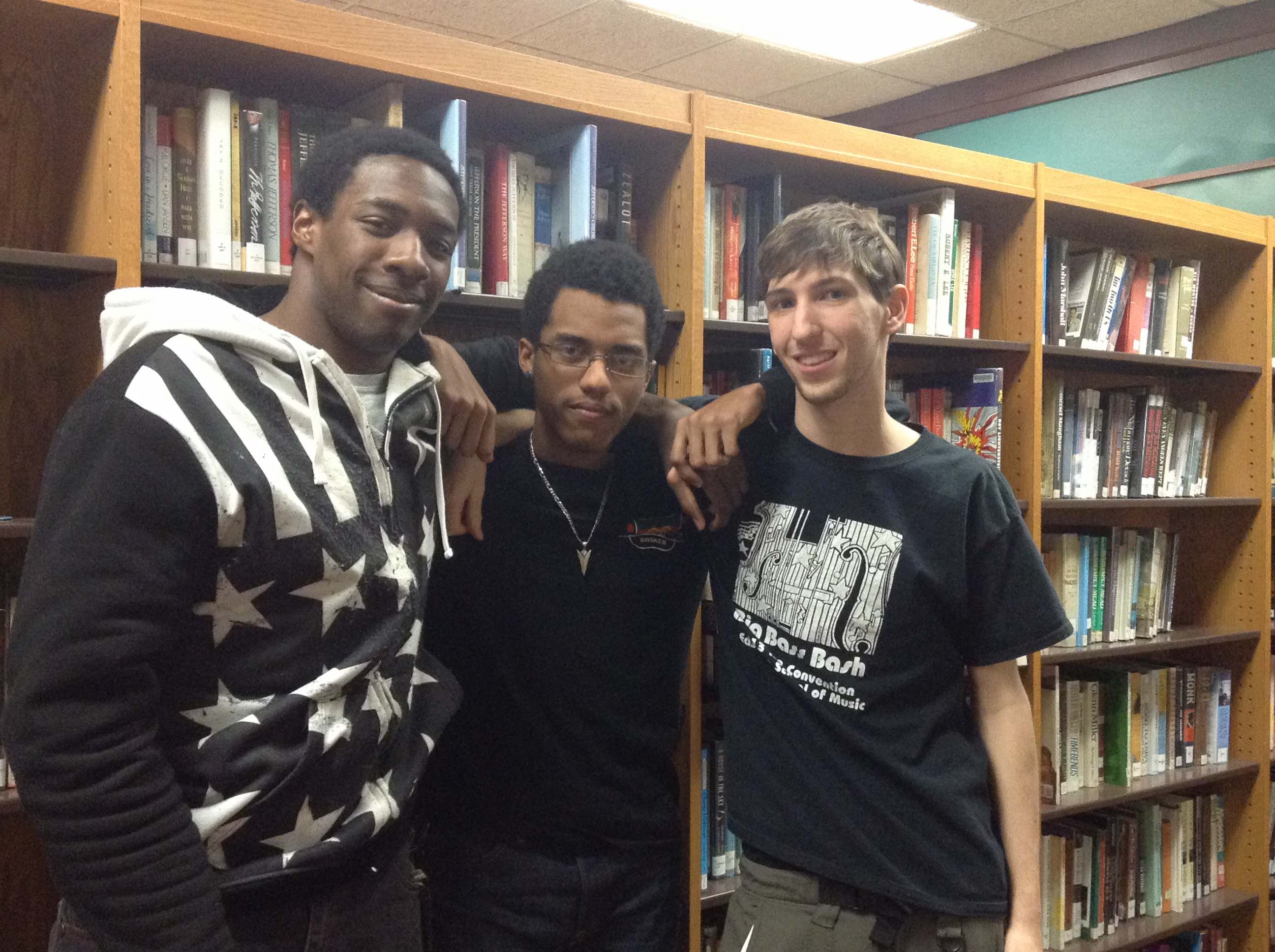 Sankofa members Jeron Gaskins, Jonathan Kennerly and John Mietus from left to right share their opinions on Black History Month