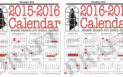 The new Shaker calendars, approved by the Board of Education on Jan. 13, extends Thanksgiving break two days and includes a week of professional days before school