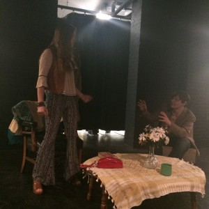 """Students rehearse for """"Snowstorm,"""" written by senior Amia Peeler and directed by senior Simon Brown."""