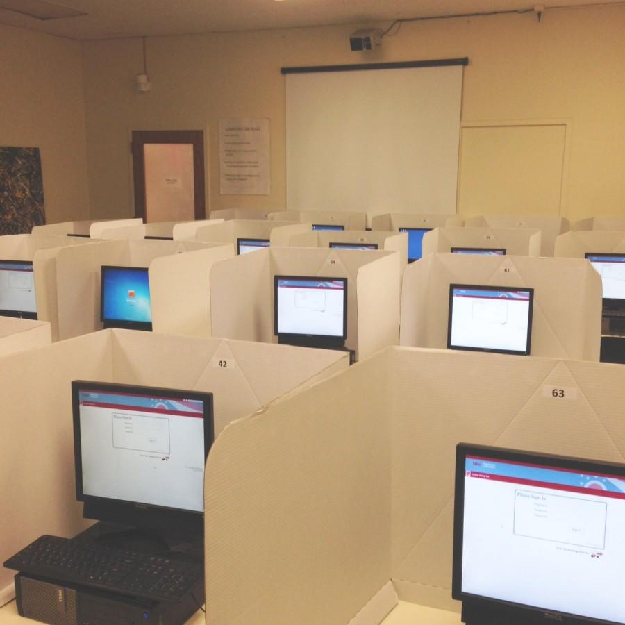 Students took the PARCC exams at testing booths set up in the library.