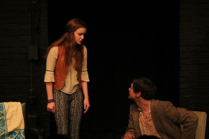 "Juniors Madison Thornton and Max Laskley argue in senior Amia Peeler's ""Snowstorm."""
