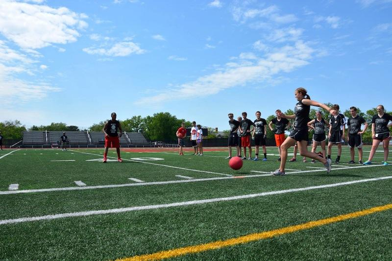 A participant goes in for a kick during Shaker's fourth-annual Kick-It event in 2014.