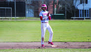 Senior Arpit Agrawal stands on second base during a game.