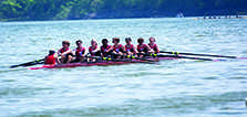 The men's crew team competes in a regetta in spring 2015.