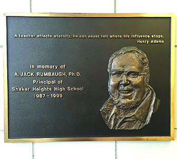 Located in the front entrance of the high school, this plaque commemorates the late Principal Jack Rumbaugh. A national search for a new principal ensued after Rumbaugh's death in 1999.