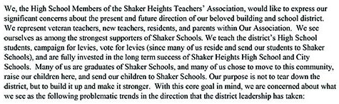 High School Teachers Publish Open Letter Stating Concerns