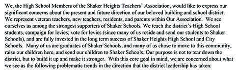 The first paragraph of the open letter published by Shaker Heights Teachers' Association high school members May 11.