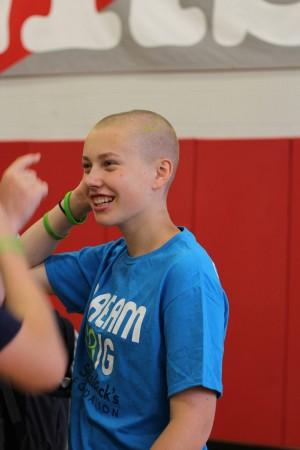 Sophomore Sheila Scanlon, after her turn for shaving.