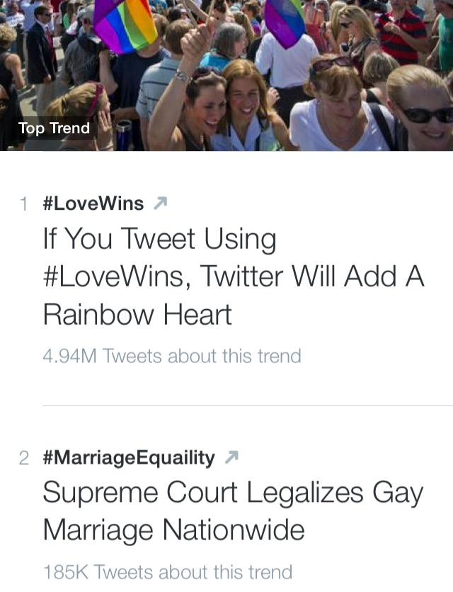 Social media took up the hashtag 'LoveWins' after the Supreme Court legalized same-sex marriage in all 50 states.