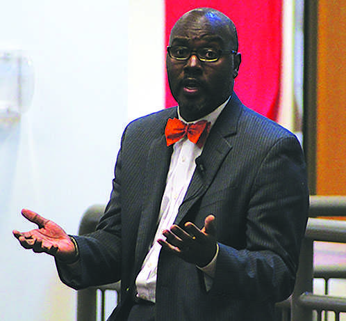 Superintendant Gregoy C. Hutchings, Jr. convened a PTO forum May 21 at the high school to address teachers, students and community members' concerns about various administrative moves and teacher morale.