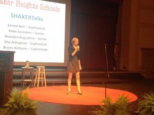 Sophmore Emma Neil giving her Shaker Talk on why she loves Shaker.