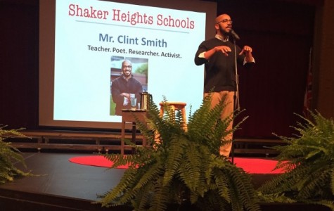 Keynote speaker Clint Smith takes to the stage to preform his spoken word pieces.