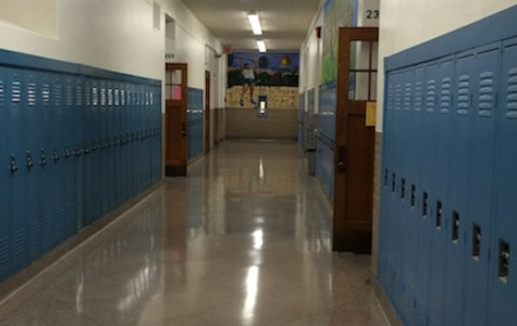 A second floor hallway of Shaker Heights High School  right after the second bell on Friday, Aug. 28, 2015, the first day the new tardy policy was implemented.