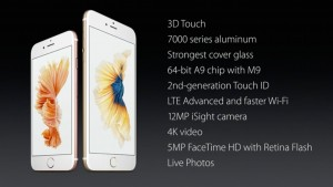 The slide released by Apple from their keynote event detailing the iPhone 6S' specs.