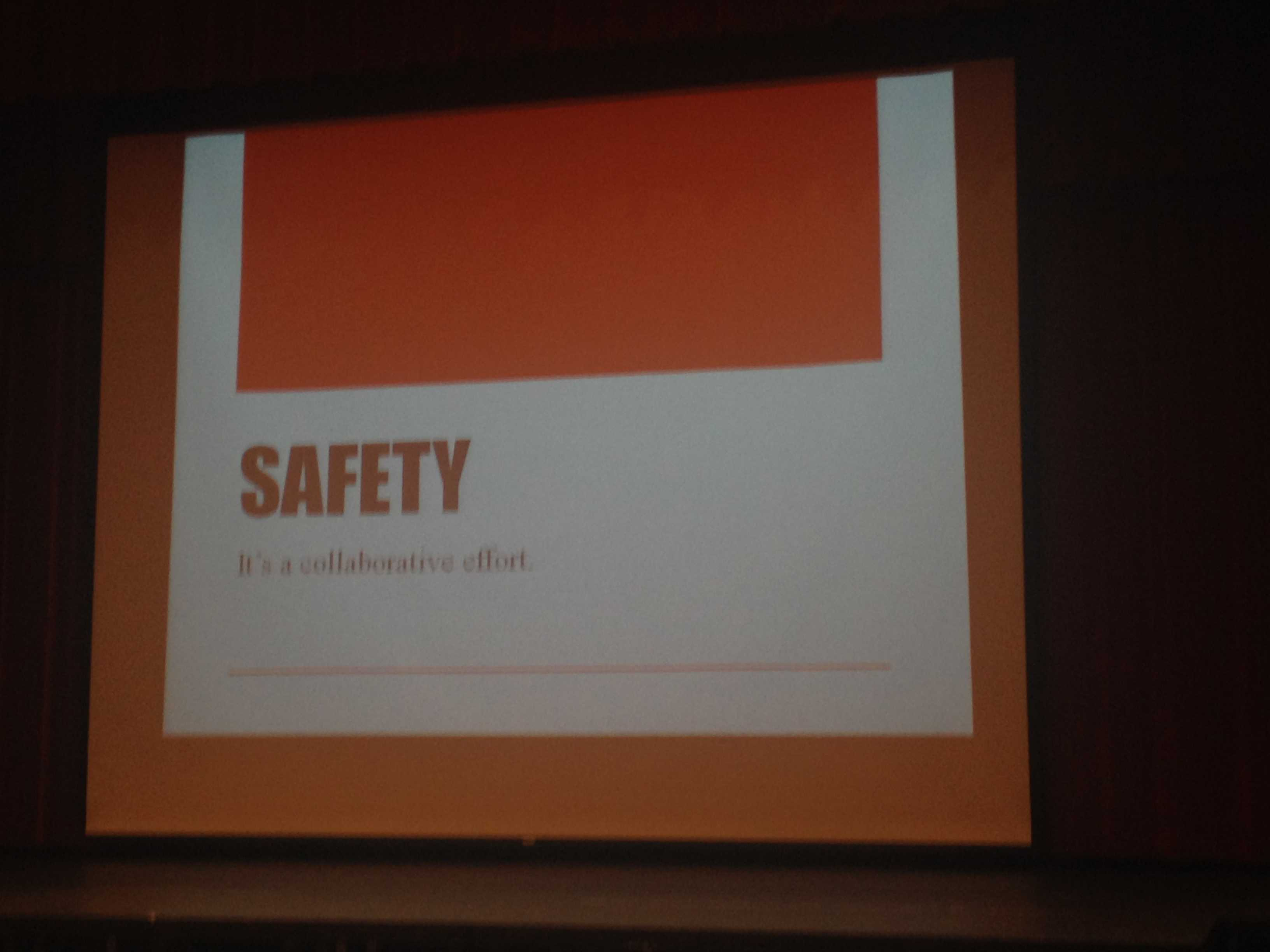 This safety PowerPoint played behind Principal James Reed during the assembly.