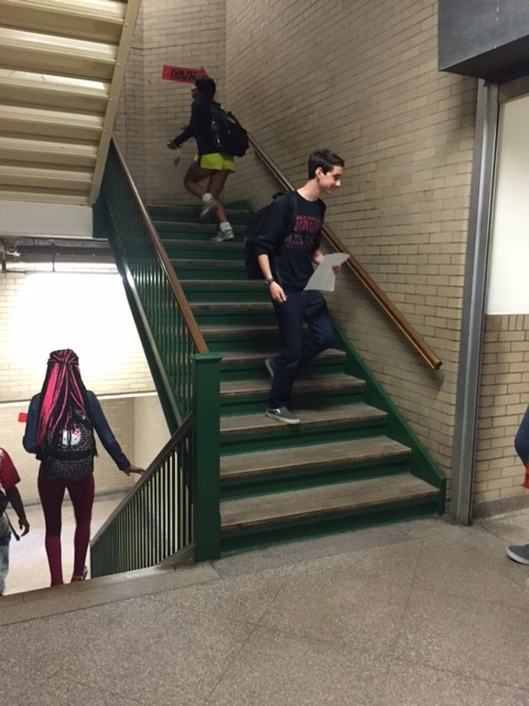 The north staircase, usually packed with students between 6th and 7th periods, was sparsely populated after the high school received two threats Oct 7.