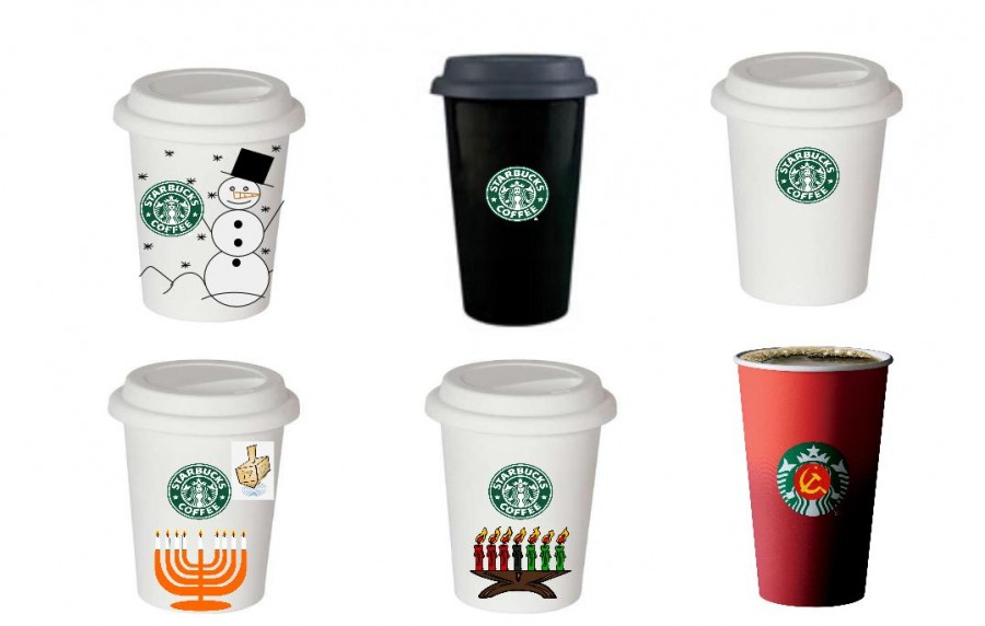 """(Upper Left) This secular cup includes nothing more complicated than a snowman and snow. It may exclude some California and Florida citizens, but we're sure that those who live in a place where it snows during the winter will appreciate such a cheery, relatable cup.  (Upper Middle) This all-black cup represents the darkness that falls in the Northern Hemisphere as the Earth tilts away from the sun. It's a testament to a true winter environment, especially here in Cleveland.  (Upper Right) One of the easiest ways to solve a conflict is to take away its source. Why decorate Starbucks cups in the first place? If you want art on your cup, tell your barista your name is """"Impressionist tree with birds and a sunset.""""  (Lower Left) Hasn't the holiday season been about Christmas for long enough? At least two other major religions have holidays at this time, and one of the more famous is Hanukkah. Perhaps it's time that we make public something other than Christmas.  (Lower Middle) The other major festival during this time of year also deserves its own cup. Happy Kwanzaa!   (blank cup) One of the easiest ways to solve a conflict is to take away its source. Why decorate Starbucks cups in the first place? If you want art on your cup, tell your barista your name is """"Impressionist tree with birds and a sunset.""""  (Lower Right) If removing """"Merry Christmas"""" from these cups is seen as un-American, then why not go all the way and just put a sickle and hammer on them as well? The cup is red, after all - you might as well greet your barista with a """"Privyet, comrade!"""""""