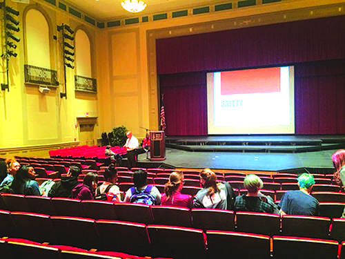 On Oct. 28 students gathered in the large auditorium to hear about school safety protocol. They were presented with a video highlighting the effects of social media on everyday life.