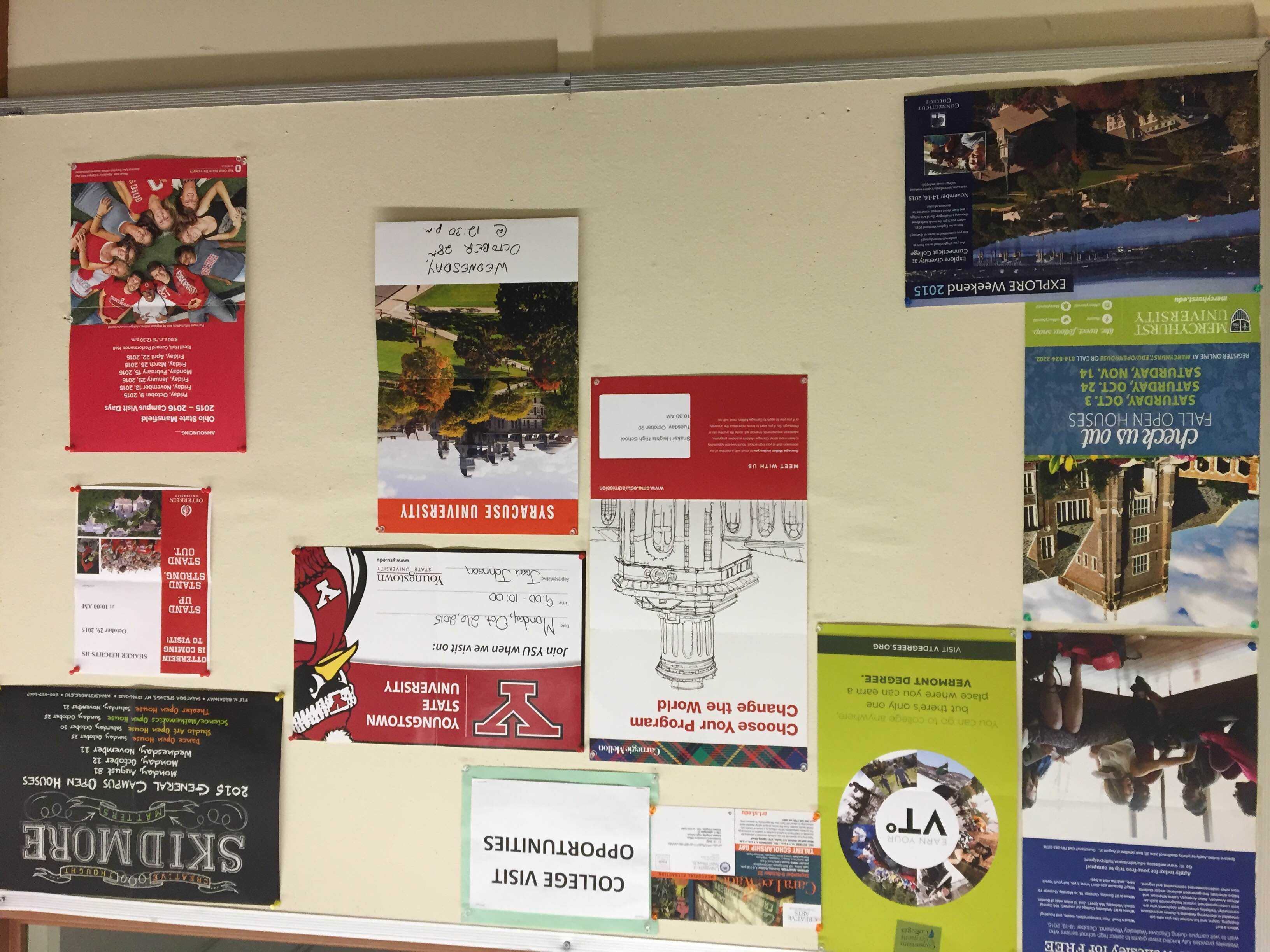 A board located in the main office outlines upcoming colleges visiting the school on Oct. 9