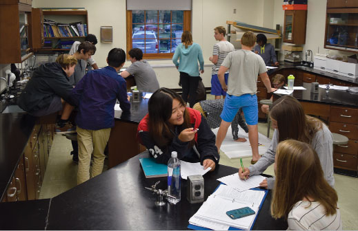 Students in Nathaniel Hsus 2015-2016, first and second period Advanced Placement Biology class demonstrate the divide between males and females in STEM classes.