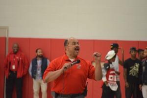 Interim Principal James Reed III speaks at the pep rally held Oct. 16